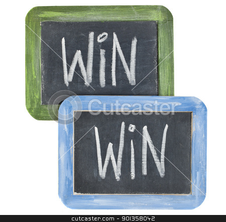 win-win concept  stock photo, win-win concept - white chalk writing on two small slate  blackboard isolated on white by Marek Uliasz