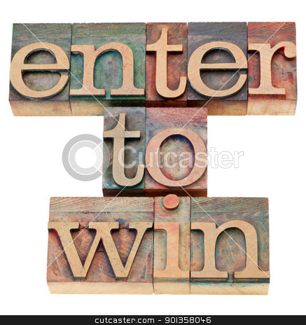 enter to win  stock photo, enter to win - isolated text in vintage wood letterpress printing blocks by Marek Uliasz