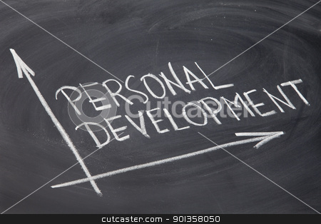personal development stock photo, personal development concept - white chalk drawing on a blackboard by Marek Uliasz