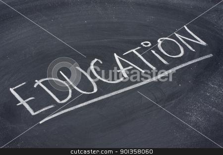 education word on blackboard stock photo, education, word in white chalk handwriting on blackboard by Marek Uliasz