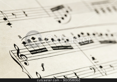 sheet music abstract stock photo, sheet music abstract on vintage paper, selective focus on treble clef by Marek Uliasz