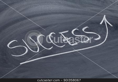 success word on blackboard stock photo, success word in white chalk handwriting on blackboard by Marek Uliasz