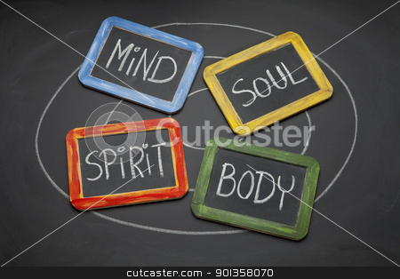 body, mind, soul, and spirit concept stock photo, body, mind, soul, spirit - personal growth or development concept presented with white chalk and small slate blackboards by Marek Uliasz