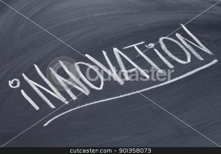 innovation word on blackboard stock photo, innovation word in white chalk handwriting on blackboard by Marek Uliasz