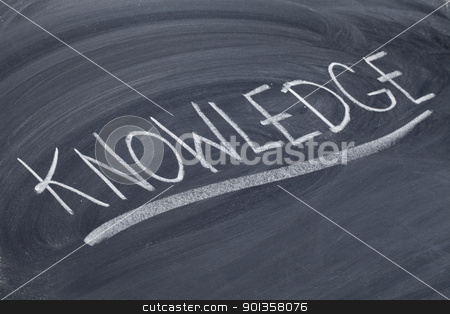 knowledge word on blackboard stock photo, word in white chalk handwriting on blackboard by Marek Uliasz