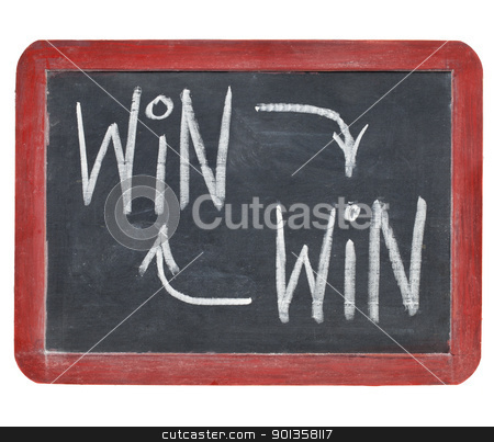 win-win concept on blackboard stock photo, win-win strategy concept - white chalk writing on a small slate blackboard isolated on white by Marek Uliasz