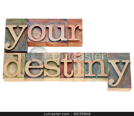 your destiny in letterpress type stock photo, your destiny - isolated text in vintage wood letterpress type by Marek Uliasz