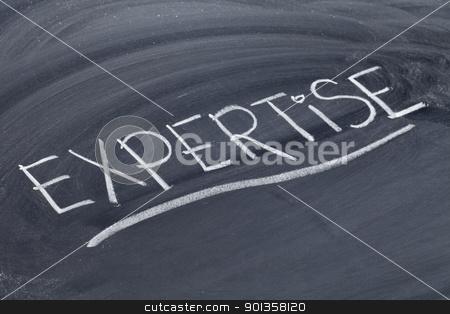 expertise word on blackboard stock photo, expertise word in white chalk handwriting on blackboard by Marek Uliasz