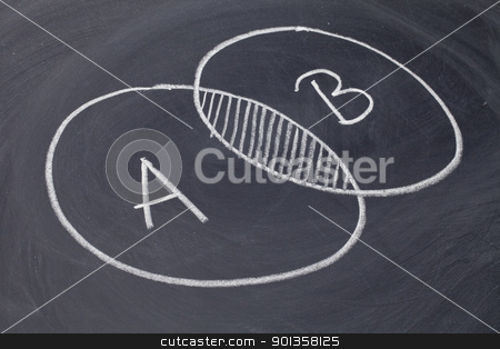 common area or overlapping stock photo, common area or overlapping - white chalk drawing on a blackboard by Marek Uliasz