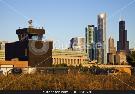 Chicago from the old airport stock photo, Chicago from the old airport  - old control tower on the left. by Henryk Sadura