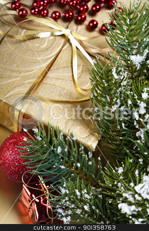 Christmas composition stock photo, Christmas composition with gift box and decorations by klenova