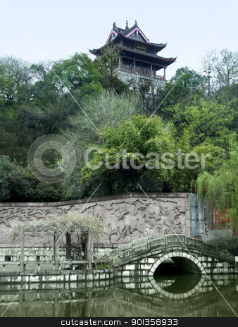 scenery around Wuhan stock photo, idyllic scenery with traditional building and wall around Wuhan, a big city in China by prill