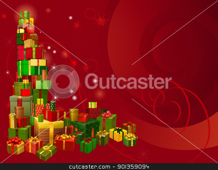 Red Christmas gift background stock vector clipart, A red Christmas background with gifts corner element by Christos Georghiou