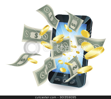 Money mobile phone concept stock vector clipart,  Money flying out of new style smart mobile phone. by Christos Georghiou