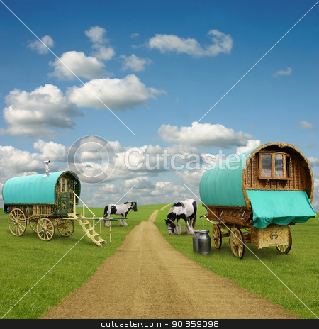 Gypsy Wagon, Caravan stock photo, Old Gypsy Caravans, Trailers, Wagons with Horses by Binkski Art