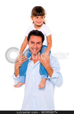father with daughter on shoulders stock photo, father with daughter on shoulders by ambrophoto