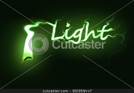 Light concept. stock photo, Close up on a single ignited candle wick with green flame morphing into the word 'light' against a black background. by Samantha Craddock