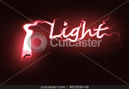 Light concept. stock photo, Close up on a single ignited candle wick with red flame morphing into the word 'light' against a black background. by Samantha Craddock