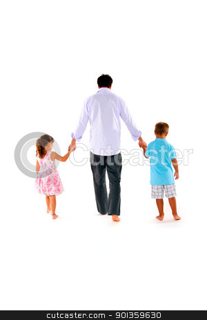 father with two children stock photo, father with two children by ambrophoto