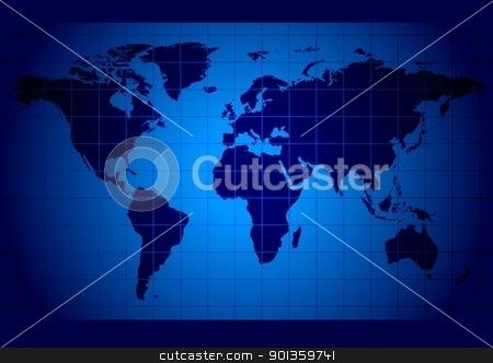 World Map stock photo, Blue World Map - colored background illustration by derocz