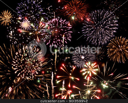 fireworks display stock photo, great colorful fireworks display at night by prill