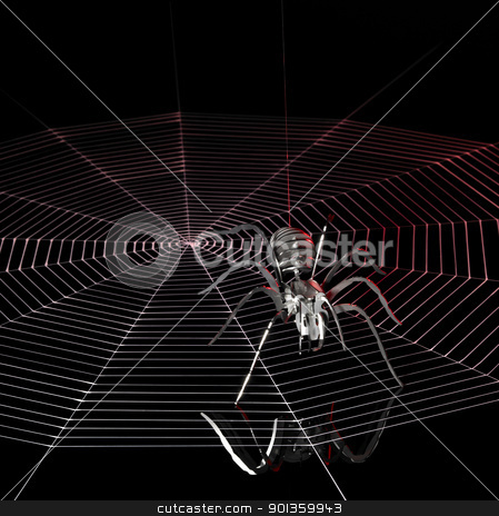 metal spider and spiderweb stock photo, a simplified spider made of metal and a artificial spiderweb. Red illuminated studio shot in black back by prill