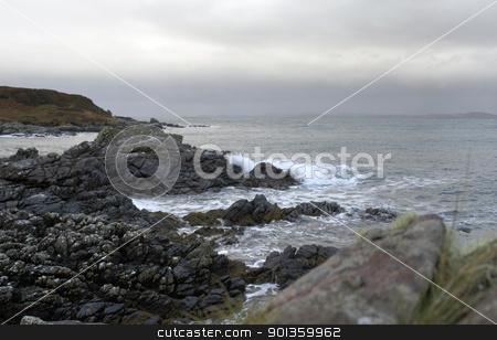 rocky coast in Scotland stock photo, coastal seaside scenery in Scotland by prill