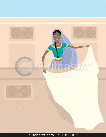 indian balcony stock vector clipart, an illustration of an indian lady dressed in a saree standing on a balcony with white laundry under a blue sky by Mike Smith