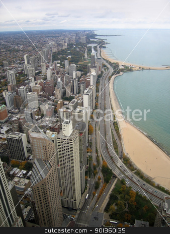 Chicago aerial view stock photo, coastal aerial view of Chicago (USA) by prill
