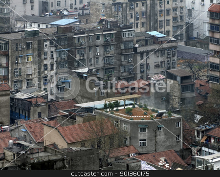 Wuhan city view stock photo, urban detail of Wuhan, a big city in China by prill