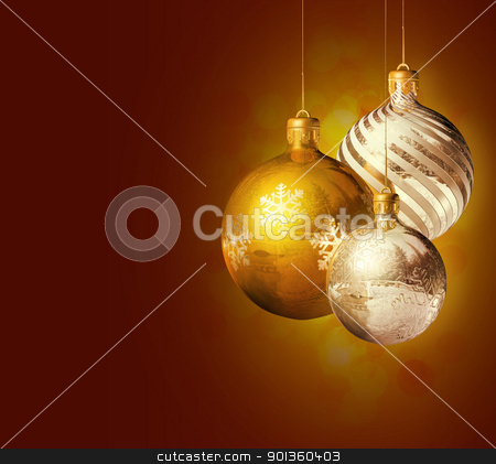 Elegant christmas decor. stock photo, Elegant christmas decor with shiny baubles and copy space. by exvivo