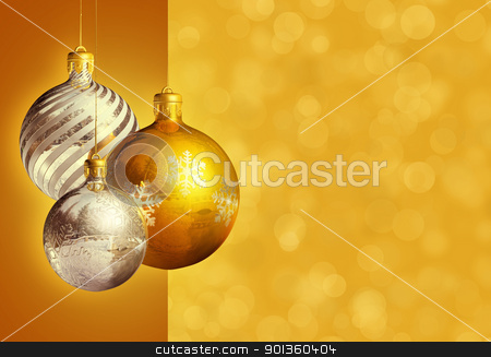 Modern styled elegant christmas decor. stock photo, Modern styled christmas decor, greeting card, with stylized baubles and copy space. by exvivo