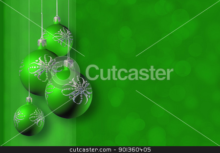 Modern styled green christmas decor. stock photo, Modern styled green christmas decor, greeting card, with stylized baubles and copy space. by exvivo