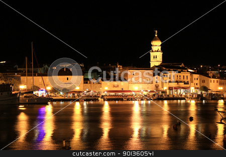 Evening in the Town of Krk, waterfront stock photo, Evening in the Town of Krk, Croatia, reflections of waterfront by xbrchx
