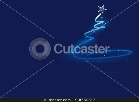 Christmas Tree stock photo, Blue Abstract Christmas Tree - christmas illustration by derocz