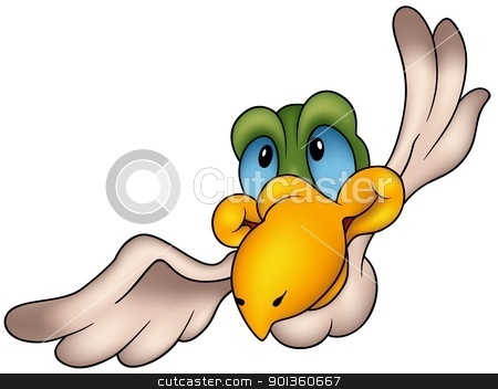 Flying Bird stock photo, Cheerful Flying Bird - colored cartoon illustration by derocz