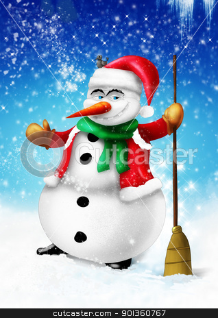 Smiling snowman with broom and green scarf stock photo, Smilingsnowman with broom and green scarf on blue background illustration by aos1212