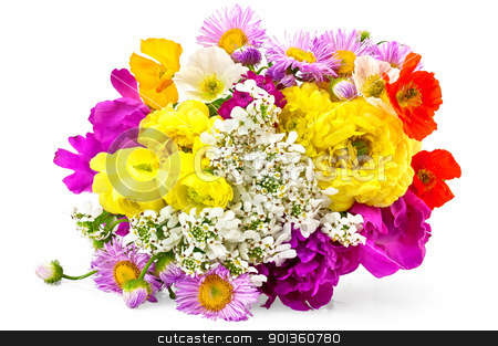 Bouquet of different flowers stock photo, Bouquet of different flowers of white, yellow, red and pink colors isolated on white background by rezkrr