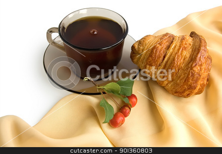 Brown cup of tea and croissants stock photo, Brown glass cup with tea, croissant and wild apples on the beige light fabric isolated on a white background by rezkrr