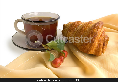 Brown glass cup with tea and croissants stock photo, Brown glass cup with tea, croissant and wild apples on the beige light fabric isolated on a white background by rezkrr