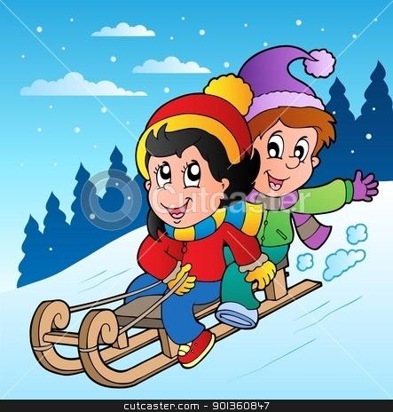 Winter scene with kids on sledge stock vector clipart, Winter scene with kids on sledge - vector illustration. by Klara Viskova