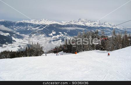 panoramic scenery around Wagrain stock photo, skiing and winter scenery in Wagrain (Austria) by prill