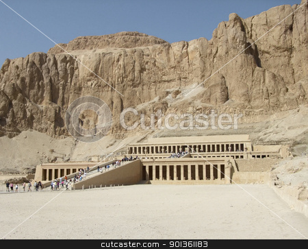 Deir el-Bahri in sunny ambiance stock photo, panoramic scenery of Deir el-Bahri in Egypt by prill