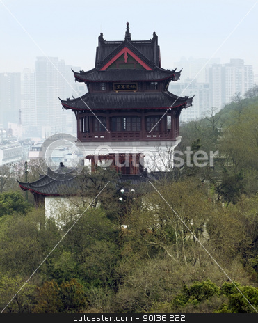 Wuhan in China stock photo, historic building and skyline of Wuhan, a big city in China by prill