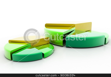 Pie graph  stock photo, 	3d rendering of pie graph in isolated background  by dileep