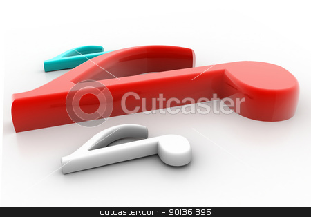 3D MUSIC NOTE SYMBOL stock photo, 3d rendering music not symbol in isolated background by dileep