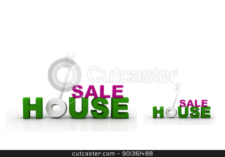House  sale 	 stock photo, Digital illustration of house sale in isolated background by dileep