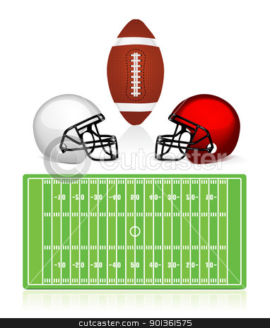 american football field, ball and helmet stock photo, american football field, ball and helmet vector by sermax55