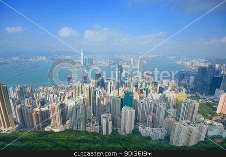 hongkong stock photo, hong kong modern city in asia by Keng po Leung
