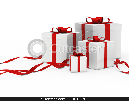 gift box white red ribbon stock photo, 3d gift box white with red ribbon by d3images